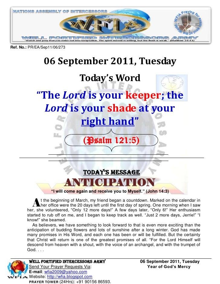 Ref. No.: PR/EA/Sep11/06/273                06 September 2011, Tuesday                                   Today's Word     ...