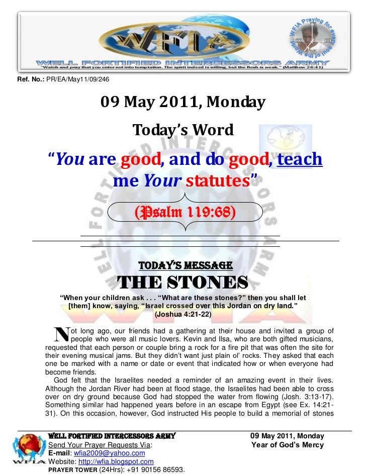 Ref. No.: PR/EA/May11/09/246                         09 May 2011, Monday                                   Today's Word   ...