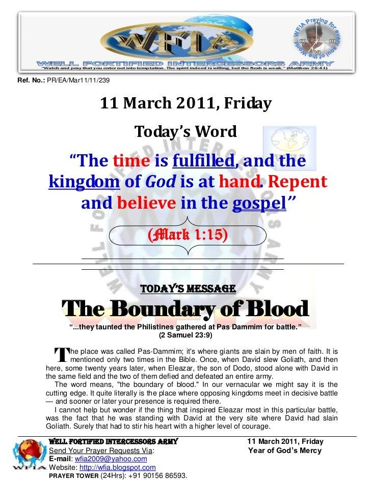 Ref. No.: PR/EA/Mar11/11/239                         11 March 2011, Friday                                    Today's Word...