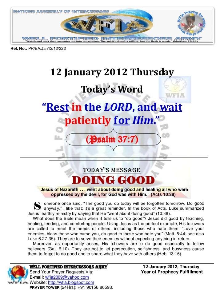 Ref. No.: PR/EA/Jan12/12/322                   12 January 2012 Thursday                                   Today's Word    ...
