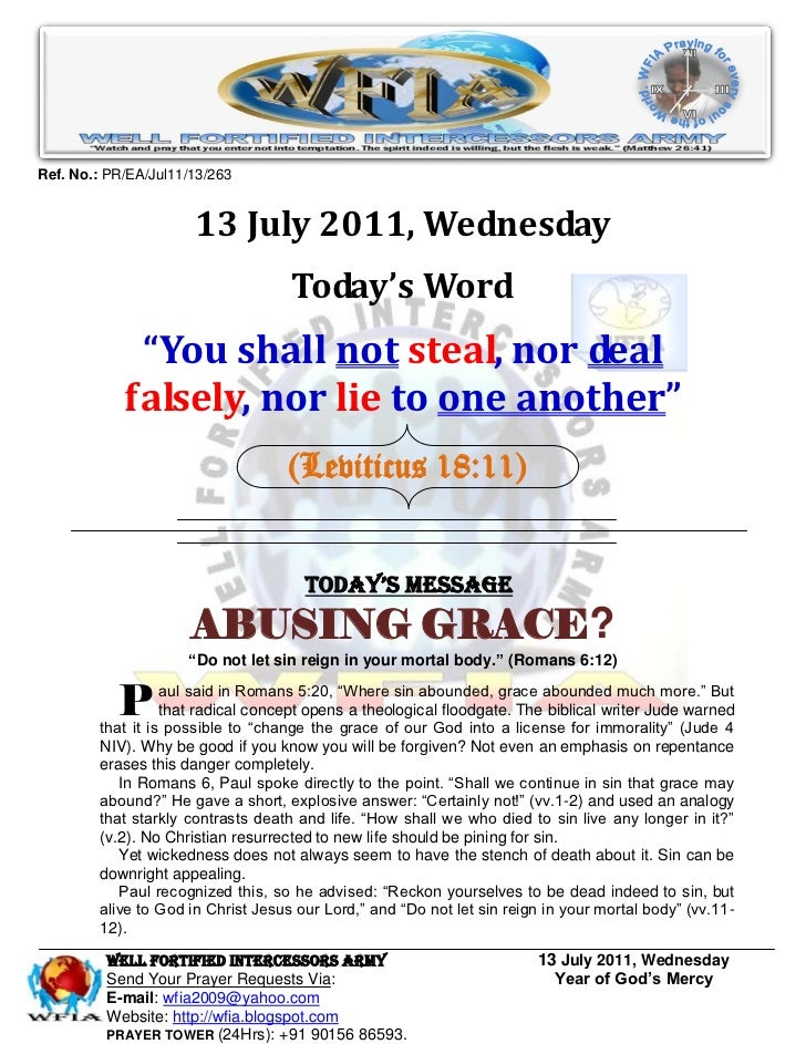 Ref. No.: PR/EA/Jul11/13/263                      13 July 2011, Wednesday                                    Today's Word ...