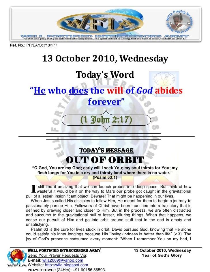 Ref. No.: PR/EA/Oct/13/177                    13 October 2010, Wednesday                                    Today's Word  ...