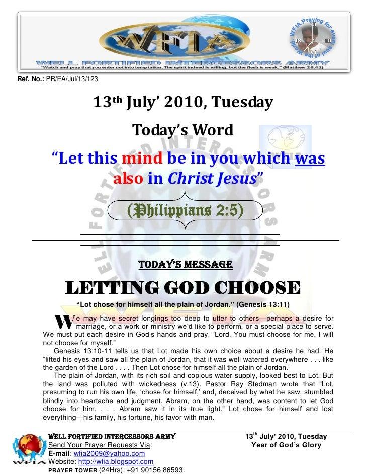 Ref. No.: PR/EA/Jul/13/123                           13th July' 2010, Tuesday                                      Today's...