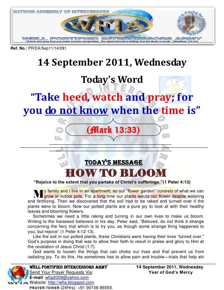 Ref. No.: PR/EA/Sep11/14/281             14 September 2011, Wednesday                                    Today's Word     ...