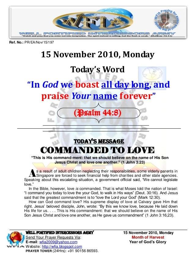 WFIA, Prayer For 15 November 2010
