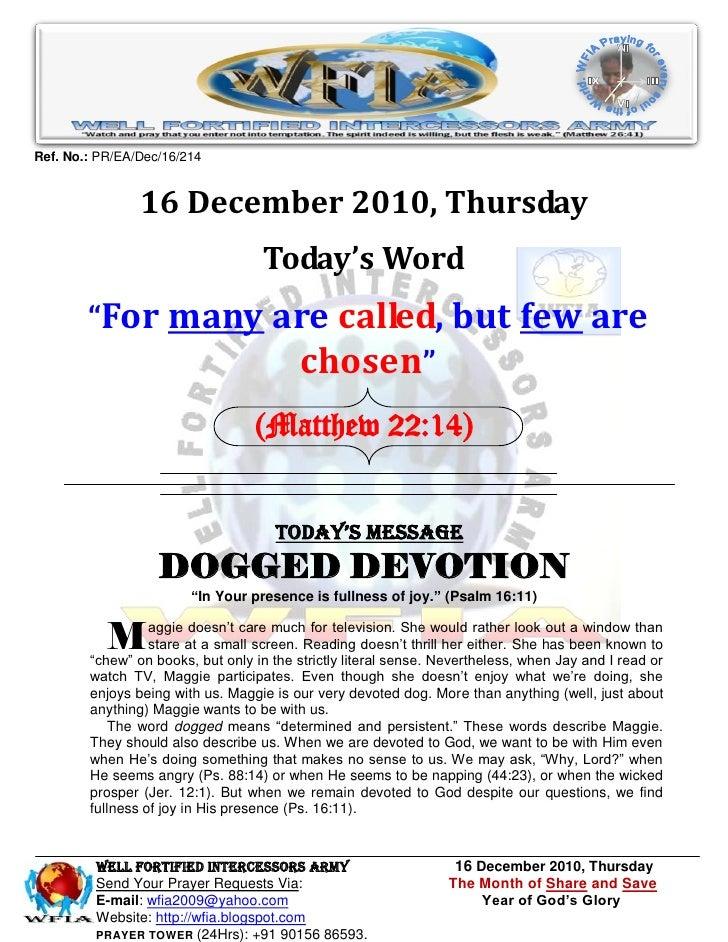 Ref. No.: PR/EA/Dec/16/214                16 December 2010, Thursday                                   Today's Word       ...