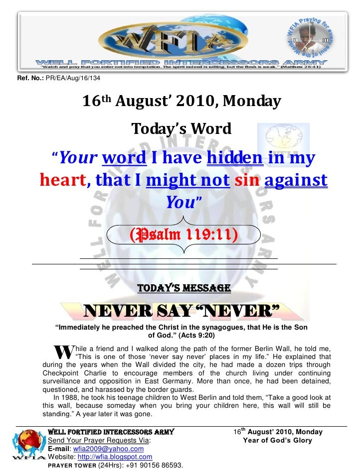 Ref. No.: PR/EA/Aug/16/134                       16th August' 2010, Monday                                    Today's Word...