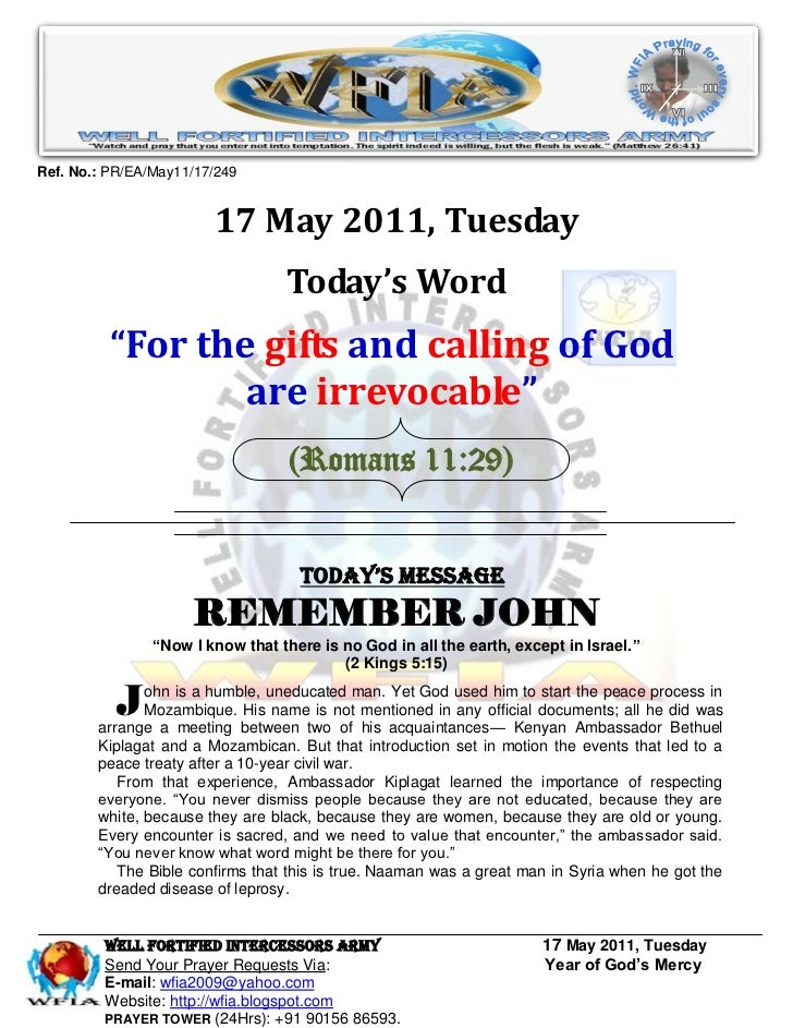 Ref. No.: PR/EA/May11/17/249                        17 May 2011, Tuesday                                  Today's Word    ...