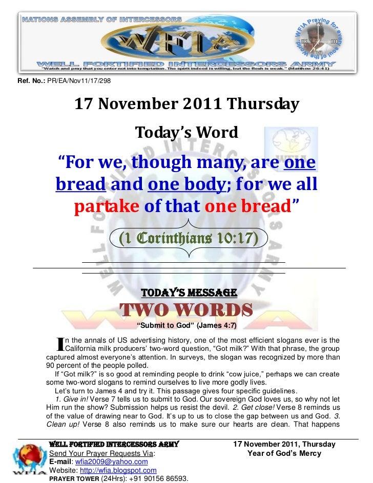 Ref. No.: PR/EA/Nov11/17/298                17 November 2011 Thursday                                   Today's Word      ...