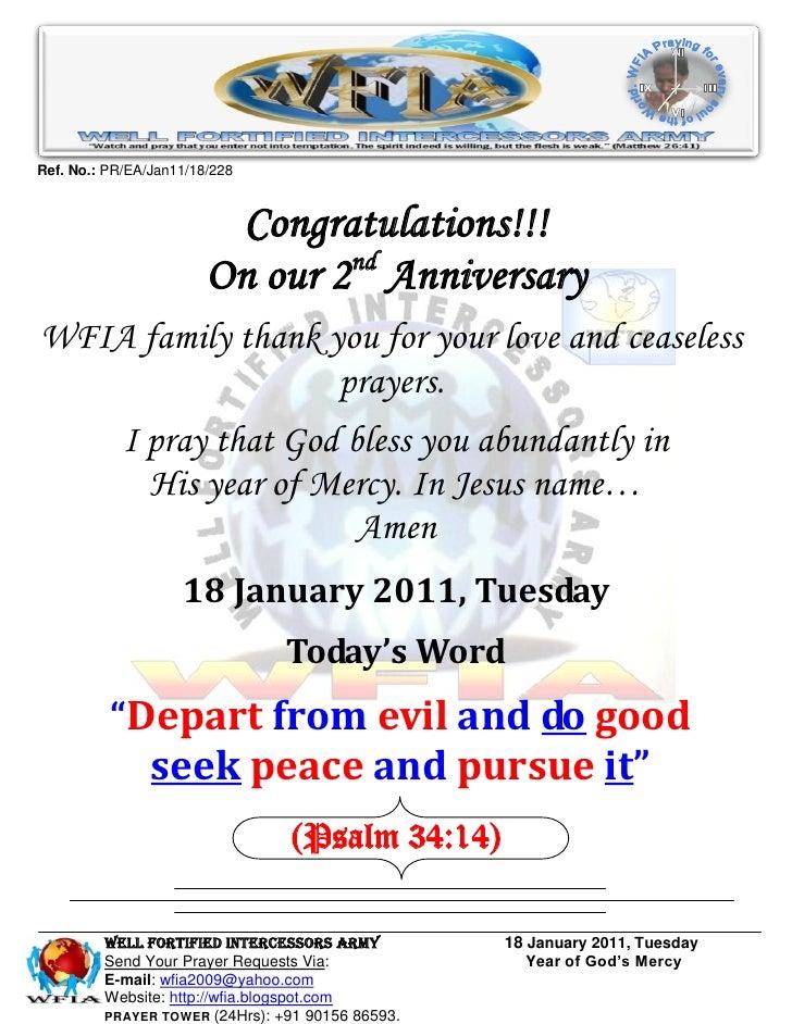 Ref. No.: PR/EA/Jan11/18/228                         Congratulations!!!                        On our 2nd AnniversaryWFIA ...