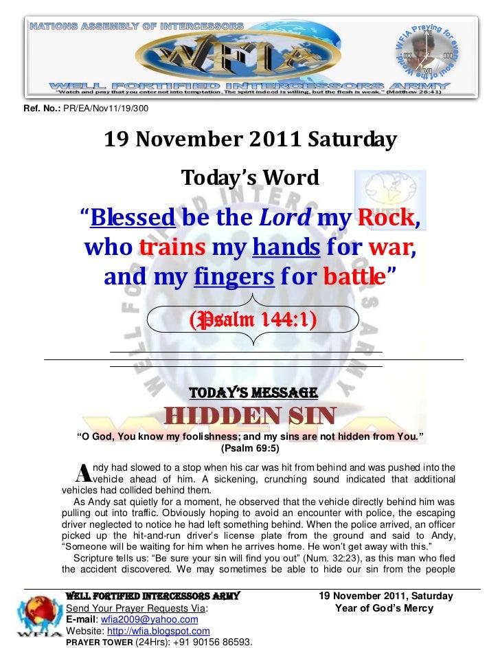 Ref. No.: PR/EA/Nov11/19/300                 19 November 2011 Saturday                                    Today's Word    ...