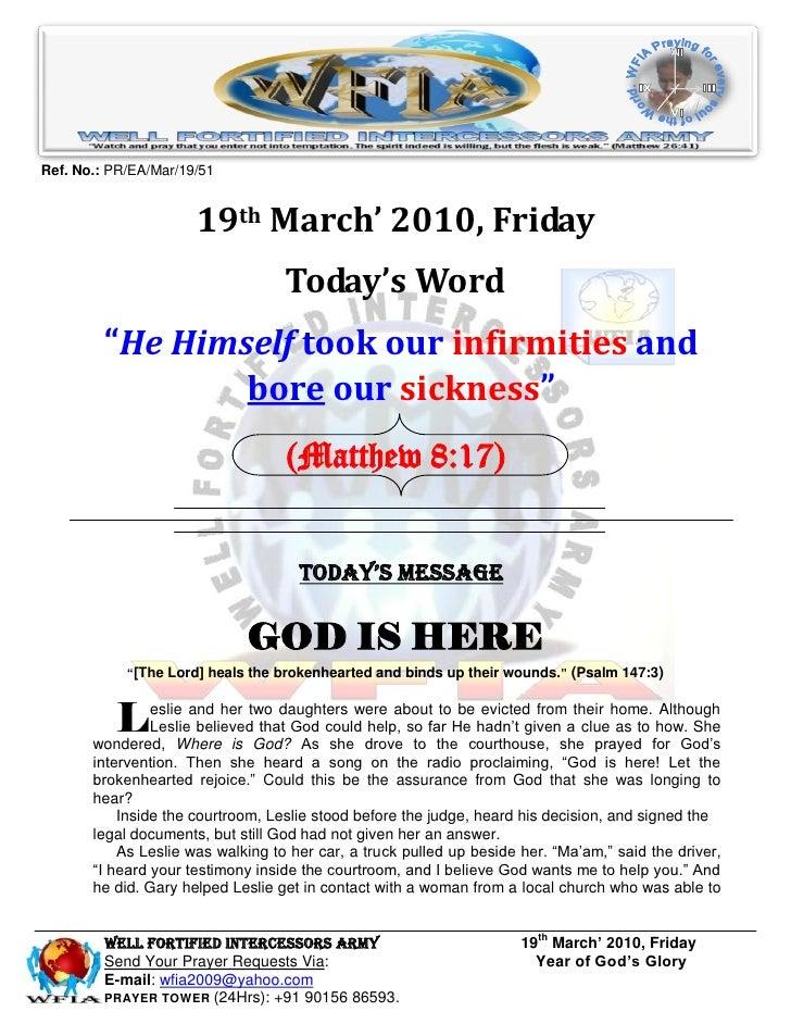 WFIA, Prayer For 19th March 2010