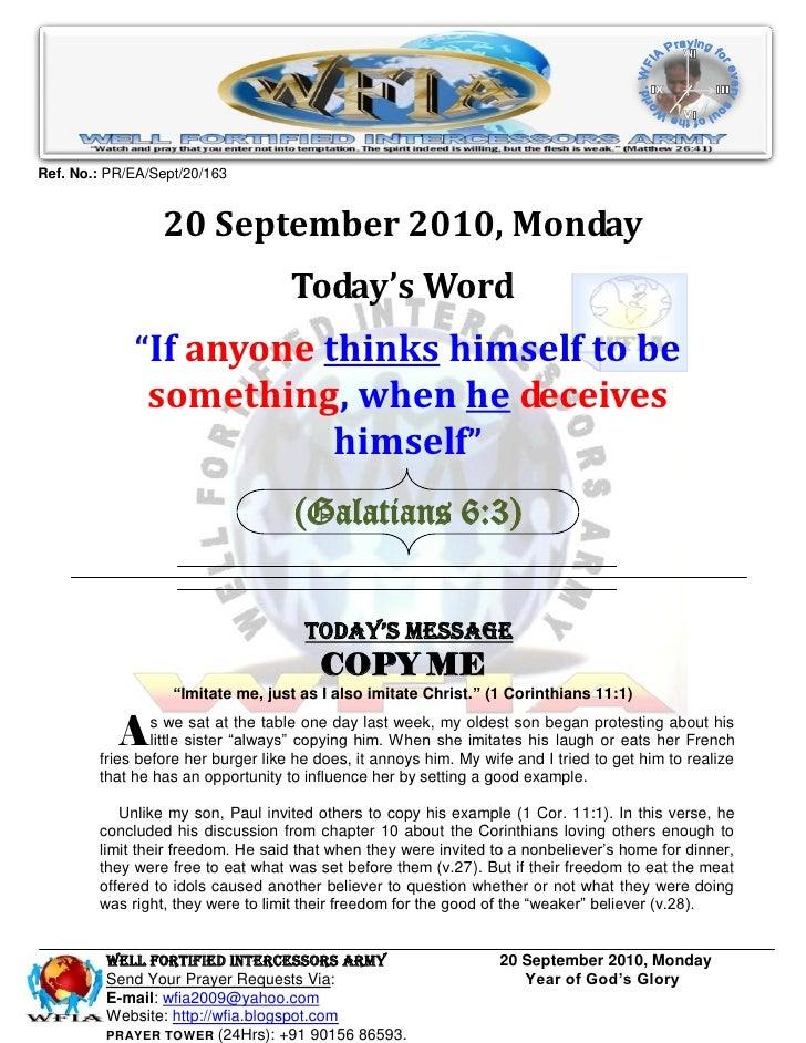 Ref. No.: PR/EA/Sept/20/163                    20 September 2010, Monday                                     Today's Word ...