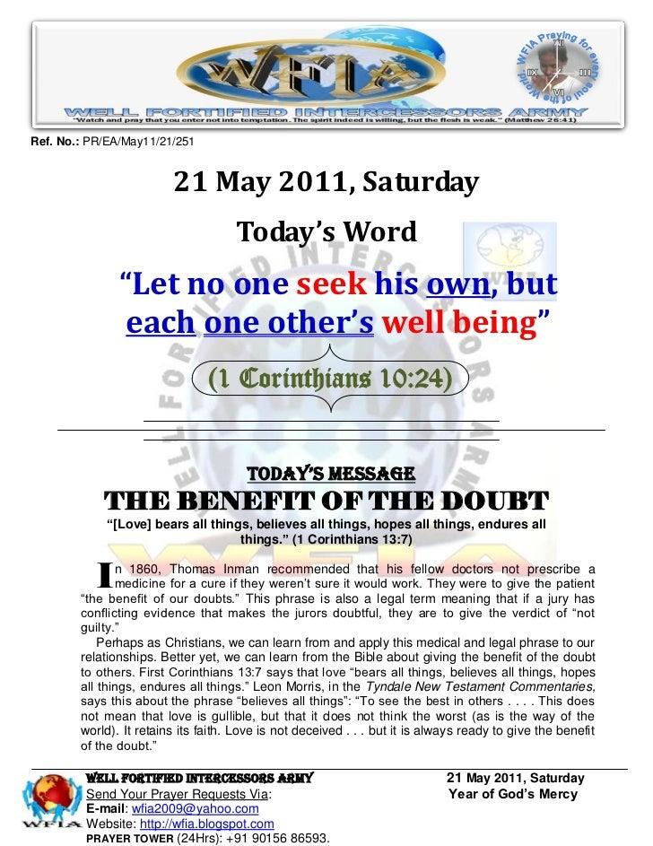 Ref. No.: PR/EA/May11/21/251                         21 May 2011, Saturday                                     Today's Wor...