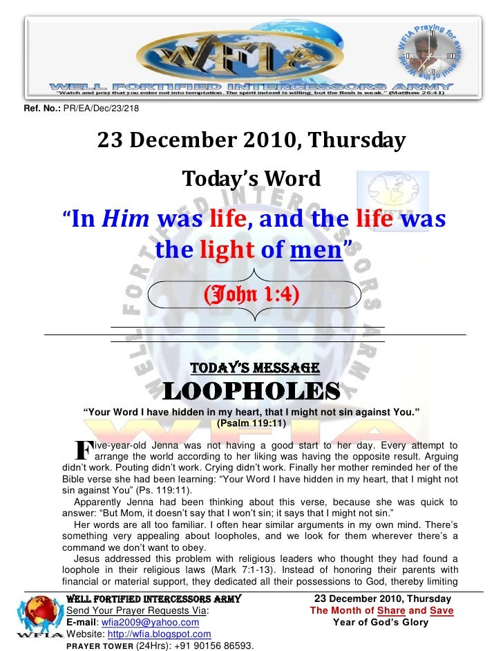 Ref. No.: PR/EA/Dec/23/218                23 December 2010, Thursday                                   Today's Word       ...