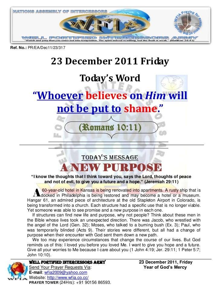 Ref. No.: PR/EA/Dec11/23/317                    23 December 2011 Friday                                   Today's Word    ...