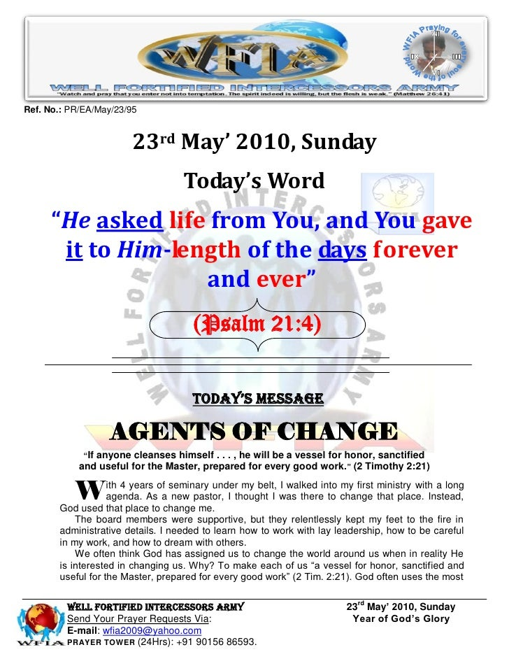 Ref. No.: PR/EA/May/23/95                           23rd May' 2010, Sunday                                    Today's Word...