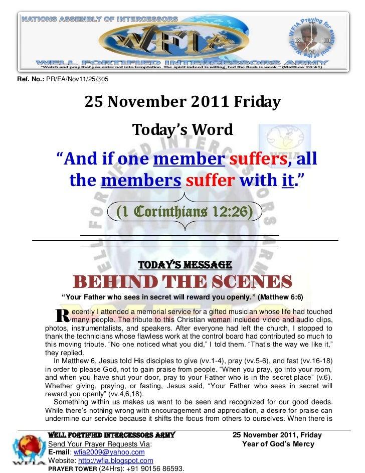 Ref. No.: PR/EA/Nov11/25/305                    25 November 2011 Friday                                    Today's Word   ...