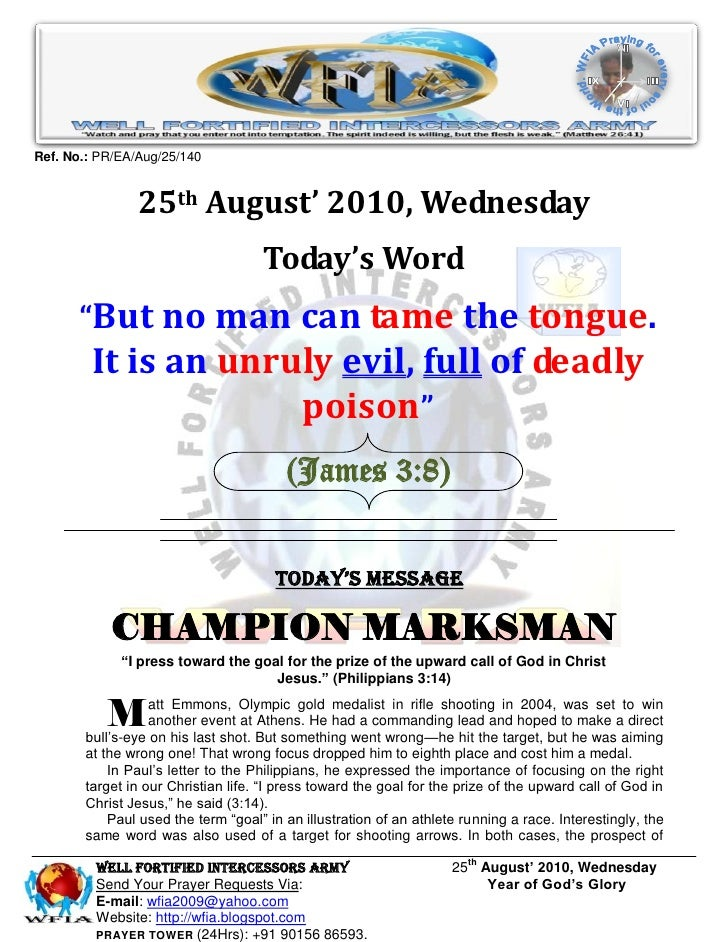 Ref. No.: PR/EA/Aug/25/140                   25th August' 2010, Wednesday                                     Today's Word...