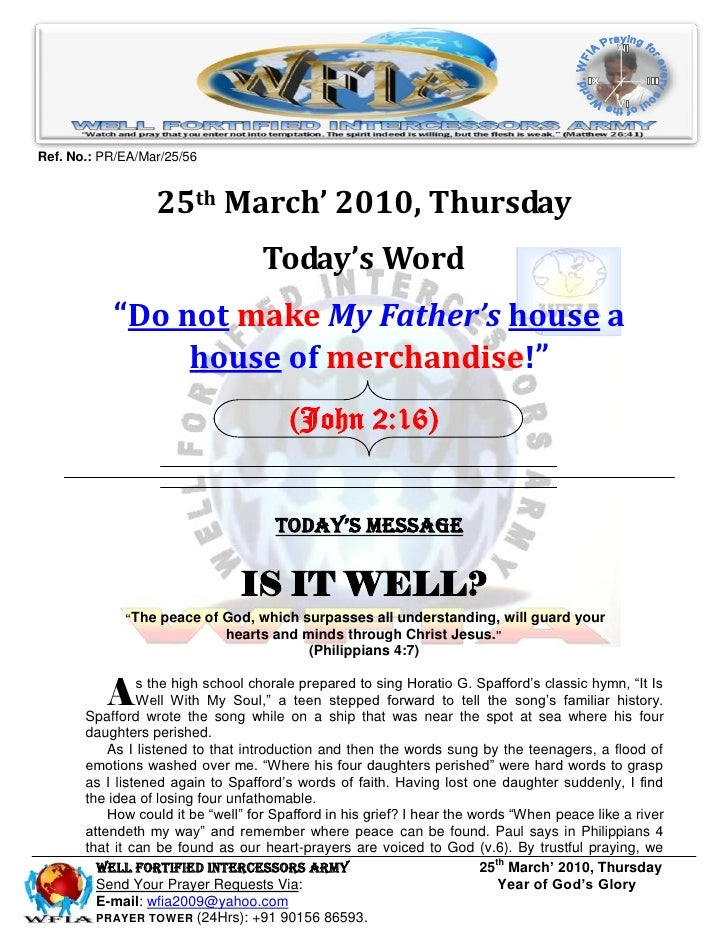 Ref. No.: PR/EA/Mar/25/56                     25th March' 2010, Thursday                                     Today's Word ...