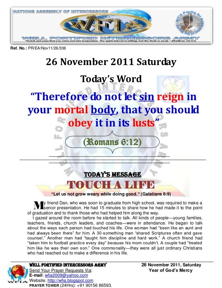 Ref. No.: PR/EA/Nov11/26/306                 26 November 2011 Saturday                                   Today's Word     ...