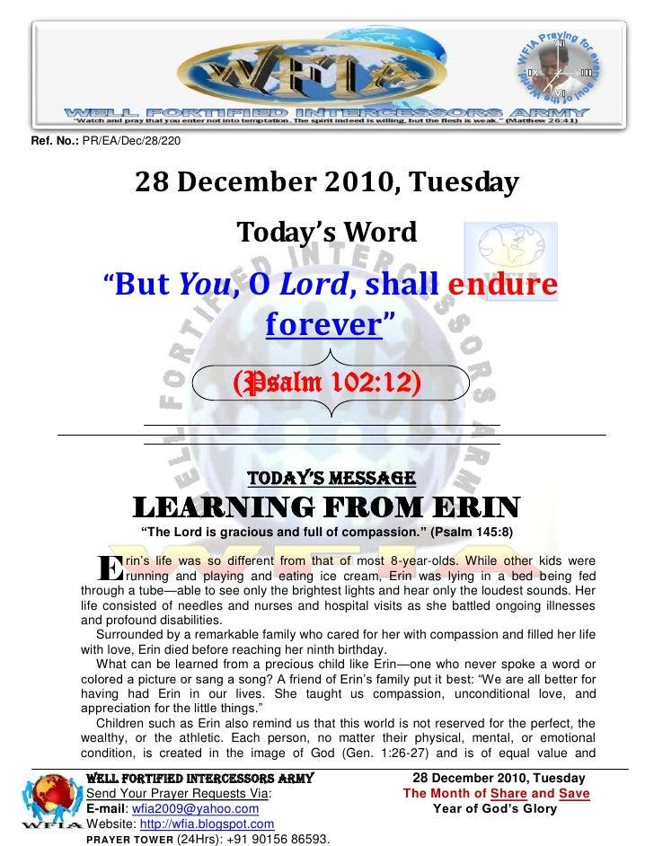 Ref. No.: PR/EA/Dec/28/220                 28 December 2010, Tuesday                                    Today's Word      ...