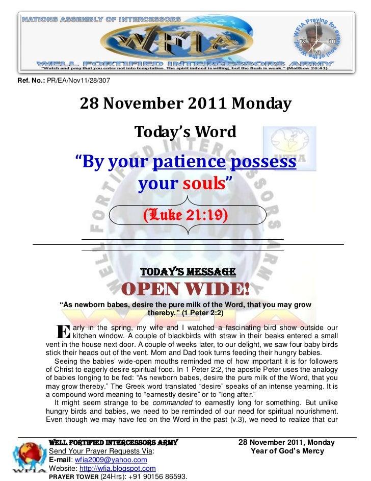 Ref. No.: PR/EA/Nov11/28/307                  28 November 2011 Monday                                    Today's Word     ...