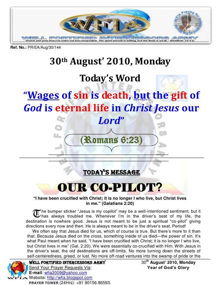 Ref. No.: PR/EA/Aug/30/144                       30th August' 2010, Monday                                    Today's Word...