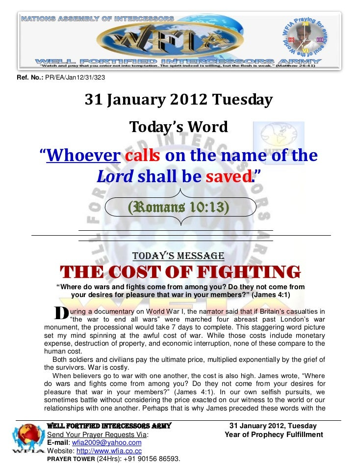 Ref. No.: PR/EA/Jan12/31/323                     31 January 2012 Tuesday                                    Today's Word  ...
