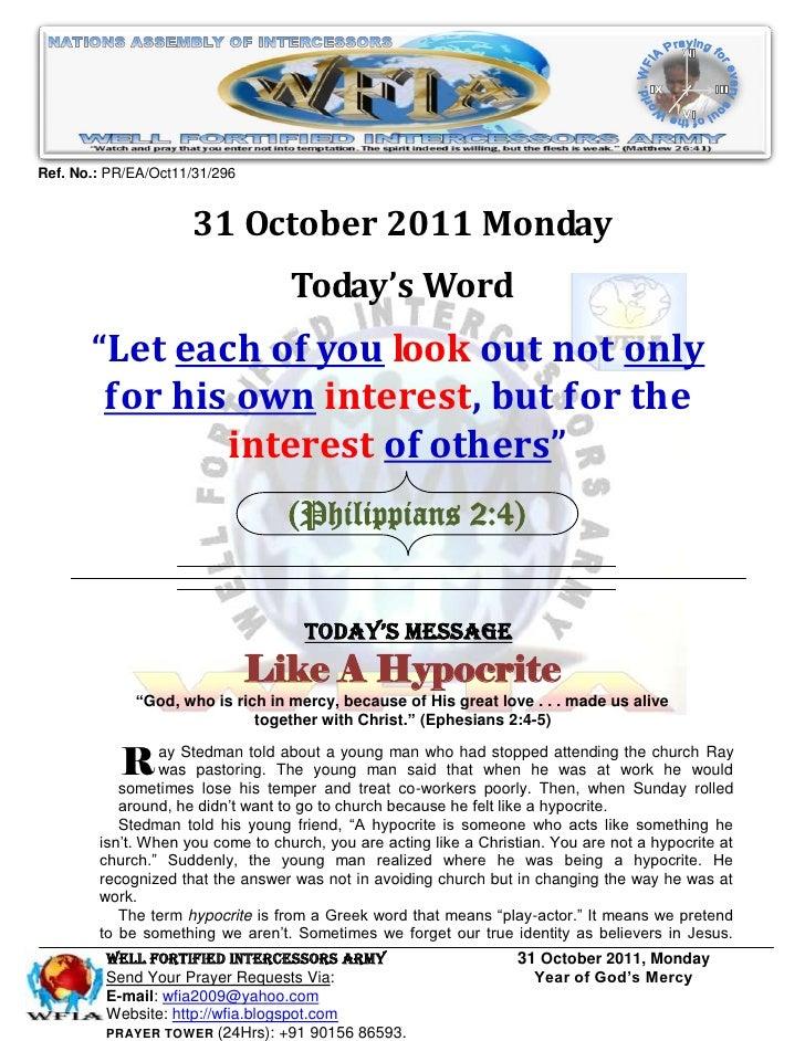 Ref. No.: PR/EA/Oct11/31/296                     31 October 2011 Monday                                   Today's Word    ...
