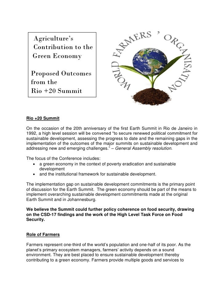 Agriculture's   Contribution to the   Green Economy  Proposed Outcomes  from the  Rio +20 SummitRio +20 SummitOn the occas...