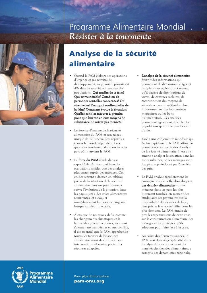 Programme Alimentaire Mondial Résister à la tourmente  Analyse de la sécurité alimentaire • Quand le PAM élabore ses opéra...