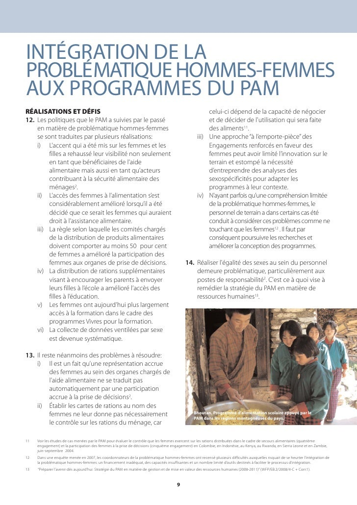 INTÉGRATION DE LA PROBLÉMATIQUE HOMMES-FEMMES AUX PROGRAMMES DU PAM RÉALISATIONS ET DÉFIS                                 ...