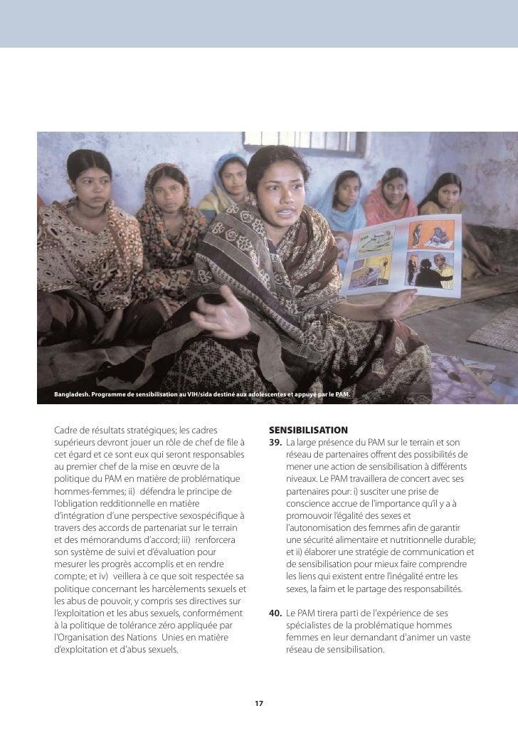 Bangladesh. Programme de sensibilisation au VIH/sida destiné aux adolescentes et appuyé par le PAM.     Cadre de résultats...