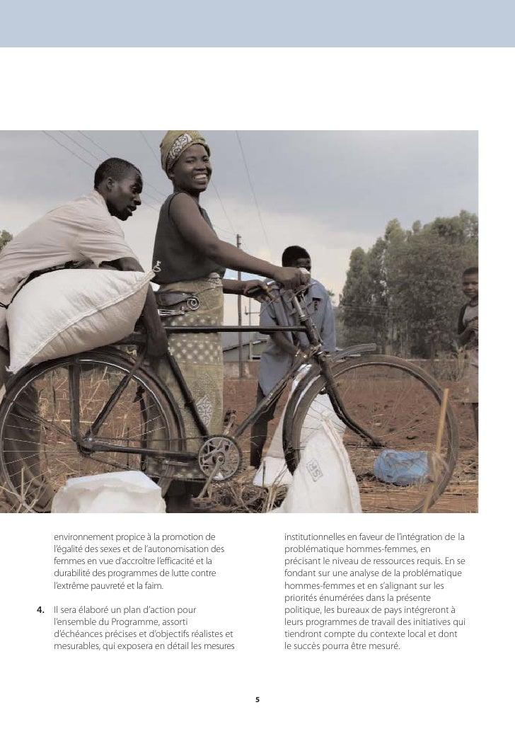 environnement propice à la promotion de               institutionnelles en faveur de l'intégration de la     l'égalité des...