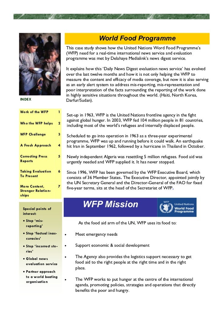 World Food Programme                              This case study shows how the United Nations Word Food Programme's      ...