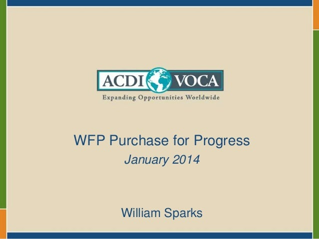 WFP Purchase for Progress January 2014  William Sparks