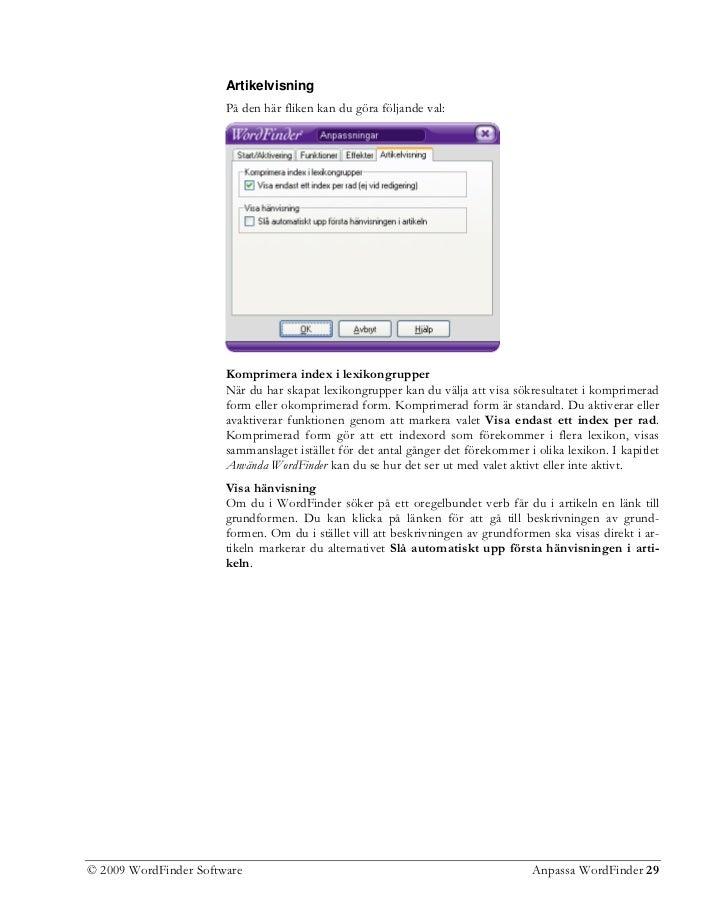 2009 WordFinder Software Anpassa WordFinder 29  30. Den övre bilden ... 0c29376acb5d2