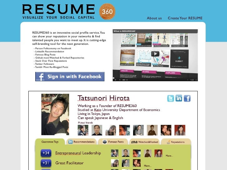 RESUME360 Mock-up for GREE Idea Jam 2011