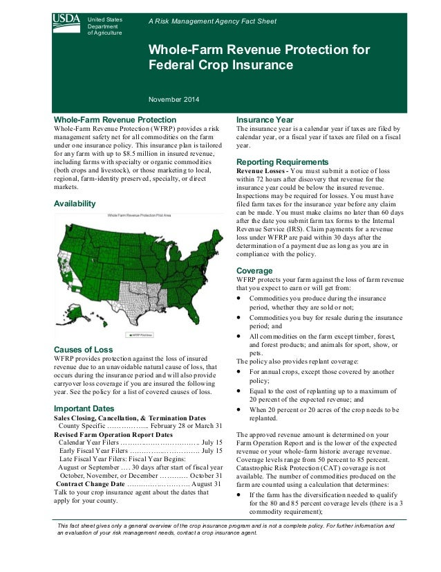 Fact Sheet: Whole-Farm Revenue Protection for Federal Crop