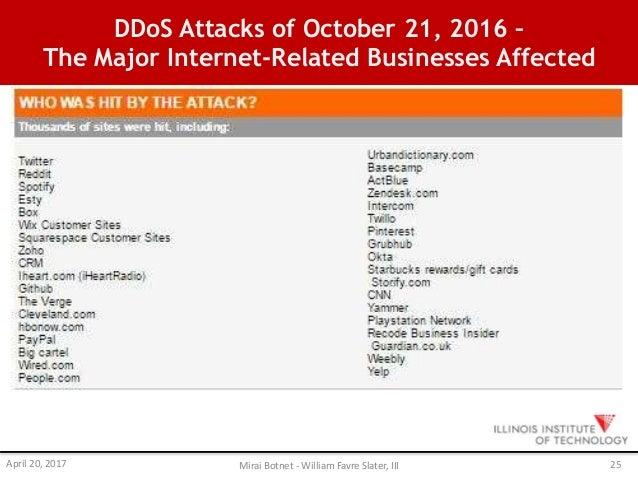 The Mirai Botnet and Massive DDoS Attacks of October 2016