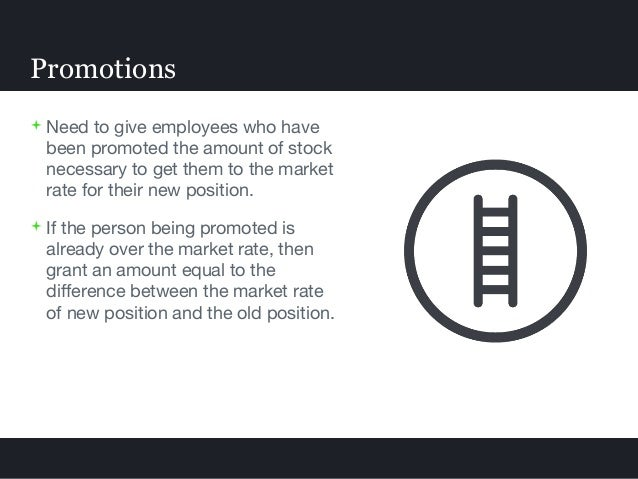  Need to give employees who have been promoted the amount of stock necessary to get them to the market rate for their new...