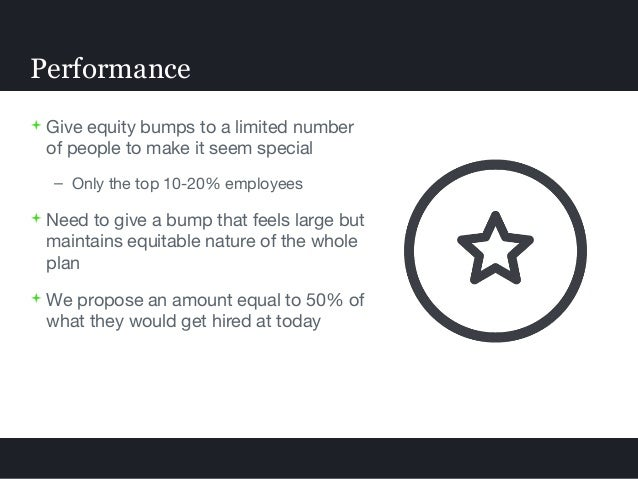  Give equity bumps to a limited number of people to make it seem special – Only the top 10-20% employees  Need to give a...