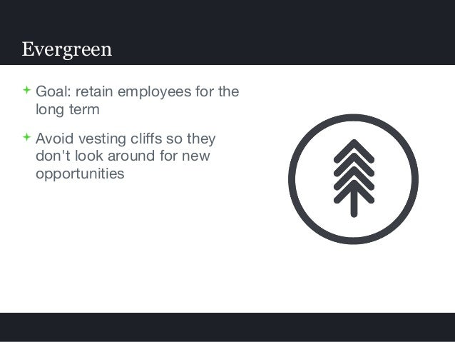  Goal: retain employees for the long term  Avoid vesting cliffs so they don't look around for new opportunities Evergreen