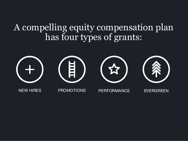 A compelling equity compensation plan has four types of grants: PROMOTIONS PERFORMANCE EVERGREENNEW HIRES