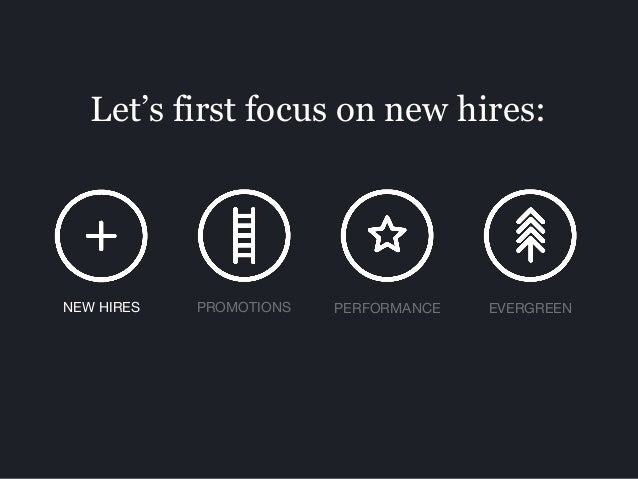 Let's first focus on new hires: PROMOTIONS PERFORMANCE EVERGREENNEW HIRES