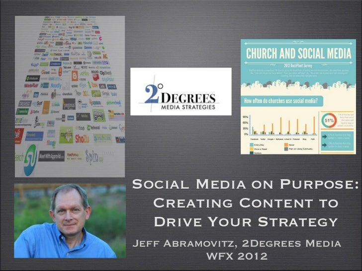 Social Media on Purpose:  Creating Content to  Drive Your StrategyJeff Abramovitz, 2Degrees Media          WFX 2012