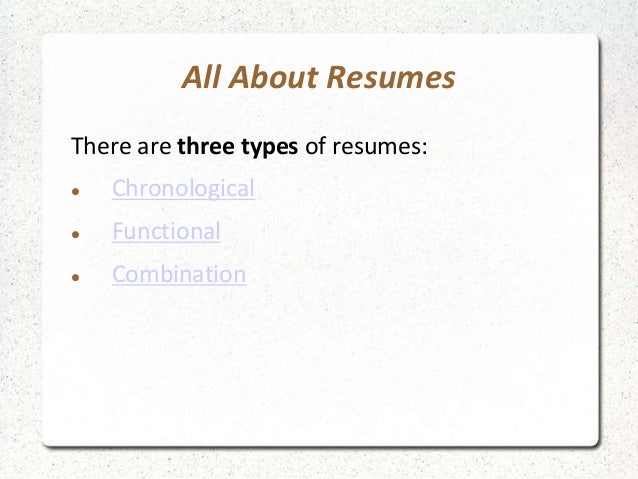 what types of resumes are there