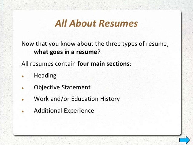 ... 24. All About Resumes ...  What Goes On A Resume
