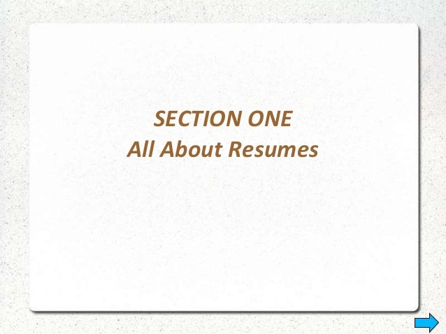SECTION ONE All About Resumes ...  Resume Types